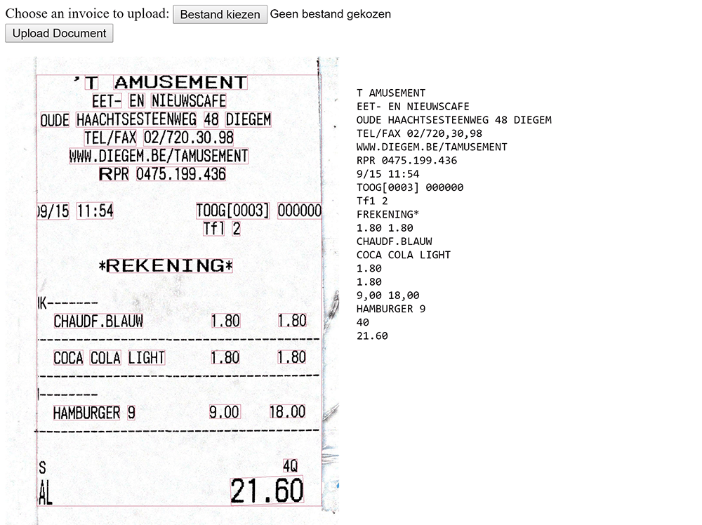 ocr text recognistion on expense receipt