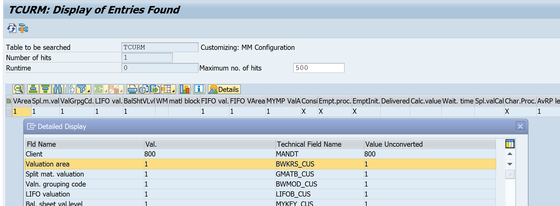 SAP valuation level configuration on table level